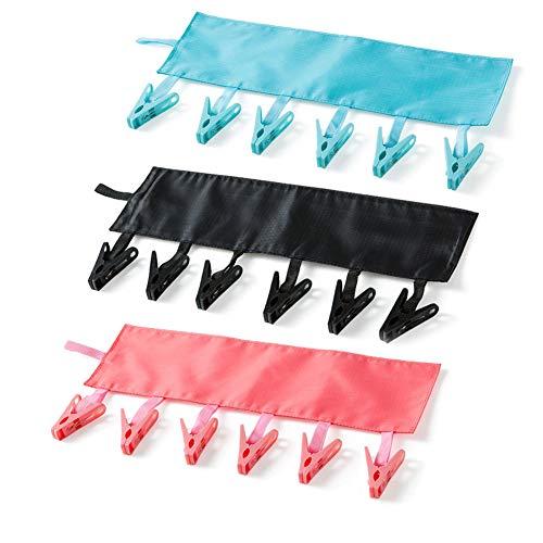 T&B 洗濯ハンガー ハンガー 干し携帯畳みハンガー 布製ハンガー 収納易い 省スペース 携帯便利 ブラック ピンク ライトブルー (3個 セット)