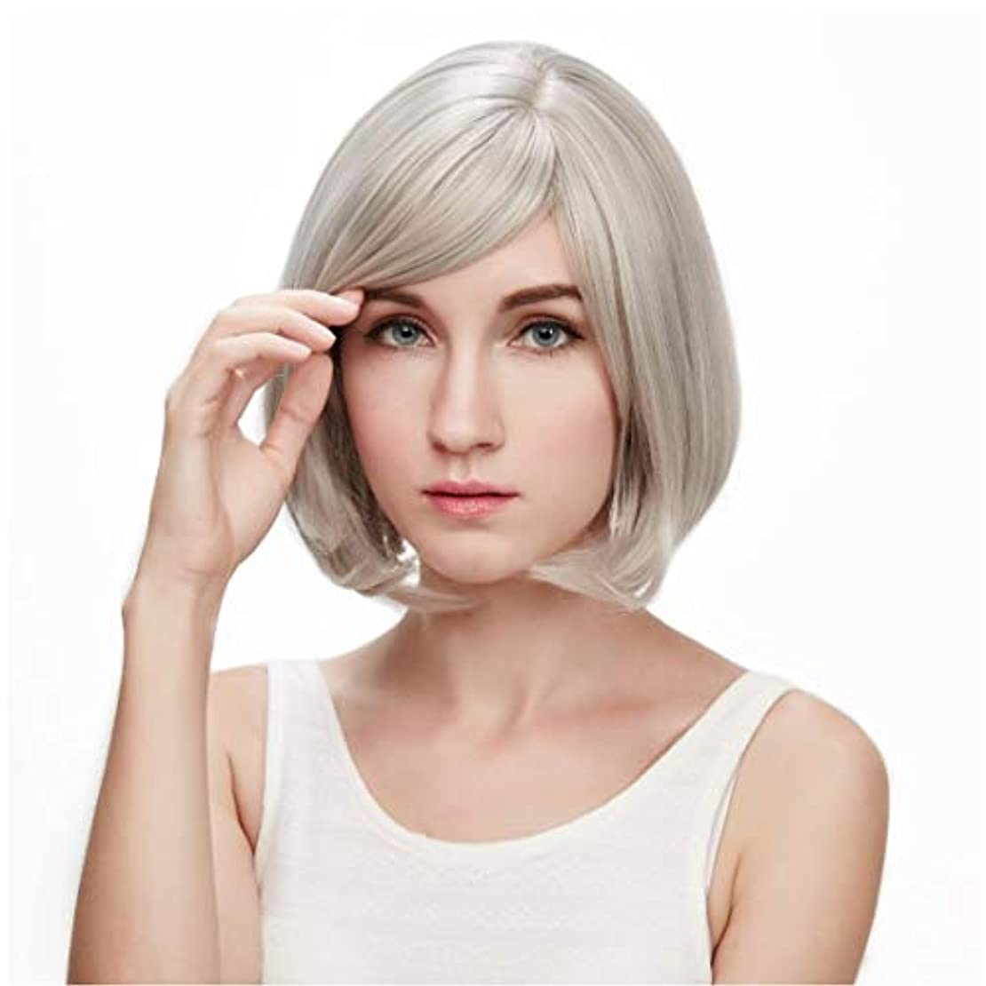 拒絶する評決ミトンSummerys 本物の髪として自然な女性のための平らな前髪の合成かつらとストレートショートボブの髪かつら