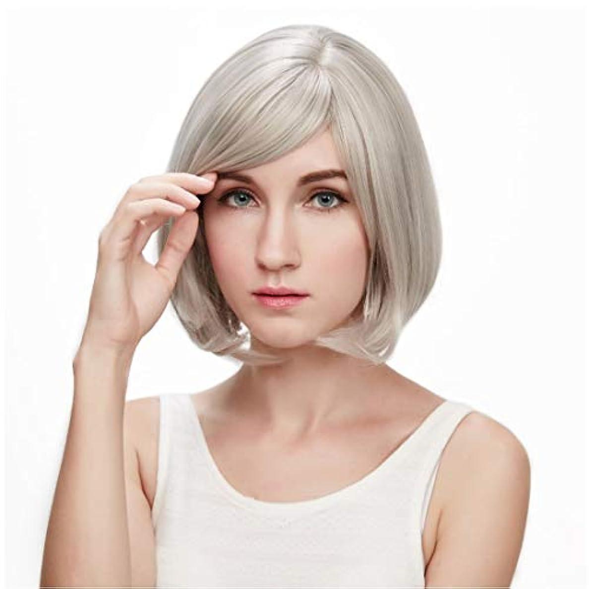 上向き内訳むちゃくちゃKerwinner 本物の髪として自然な女性のための平らな前髪の合成かつらとストレートショートボブの髪かつら