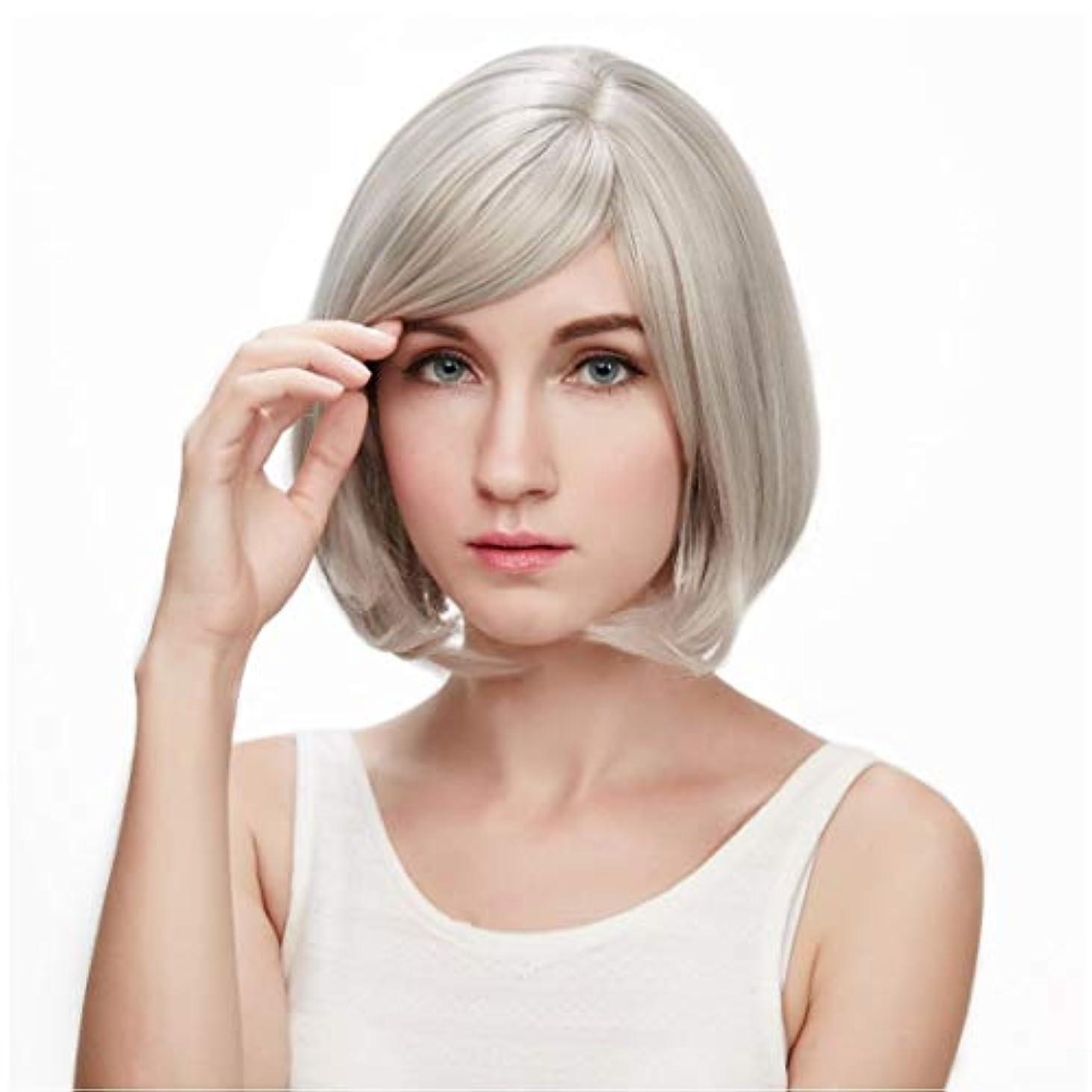 フォーカス愛蜂Summerys 本物の髪として自然な女性のための平らな前髪の合成かつらとストレートショートボブの髪かつら