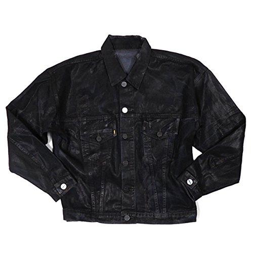 GOLDEN DENIM(ゴールデンデニム) オイルコーティングデニムジャケット Carrier Jacket-DESTROYER BLACK:ブラック ダメージデニムジャケット Gジャン ライトアウター USA/アメリカ製 メンズ L