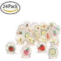 Kerocy バウンシーボール 24個 ミニゴム製バウンスボール玩具 内側にフルーツのついた面白いボール - 子供のパーティーの記念品、賞品、学習に最適なギフト