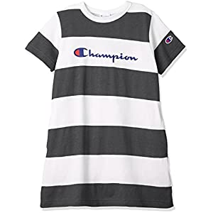 [チャンピオン] ガールズ ビッグボーダーチュニックTシャツ CS4585 チャコール 日本 130 (日本サイズ130 相当)