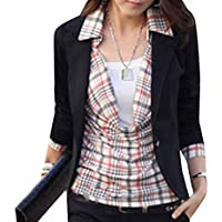 Howely Womens Casual Solid Long Sleeve 1 Button Slim Fitted Short Blazer