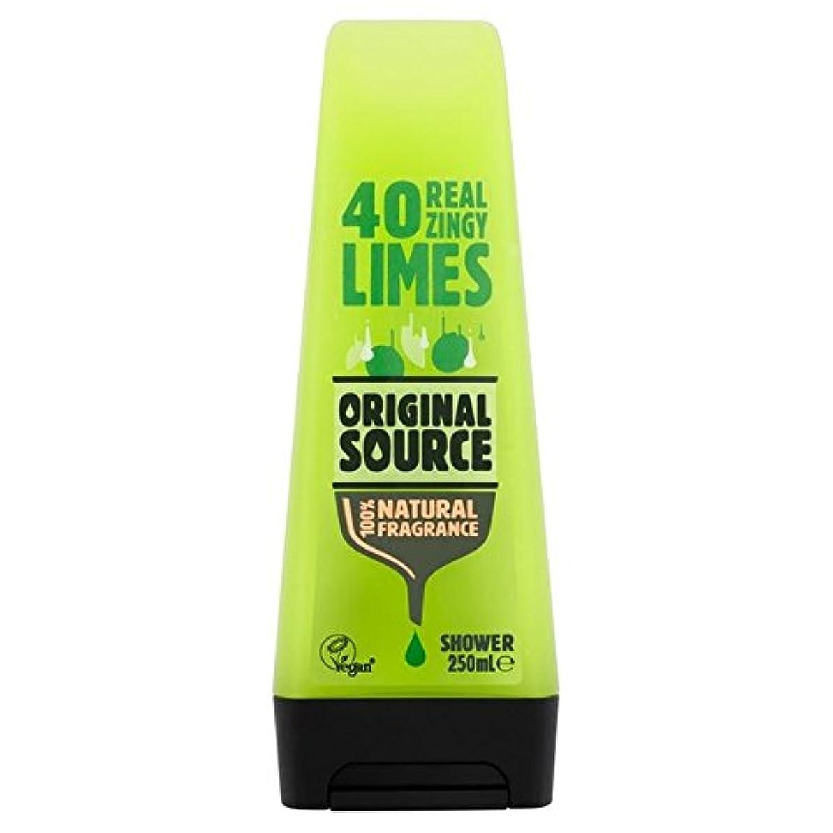 研磨剤吸収する野生元のソースライムシャワージェル250ミリリットル x2 - Original Source Lime Shower Gel 250ml (Pack of 2) [並行輸入品]