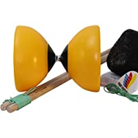 Flight Lander Pro Yellow Chinese Yoyo Diabolo with Wooden Sticks Net Carrying Bag and Extra String 【You&Me】 [並行輸入品]