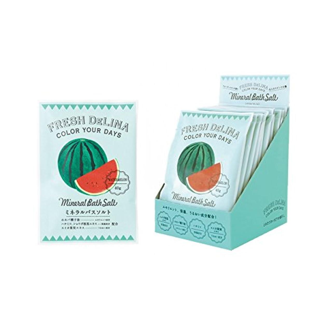 意義累計周辺フレッシュデリーナ ミネラルバスソルト40g(ウォーターメロン) 12個 (海塩タイプ入浴料 日本製 さわやかなすいかの香り)