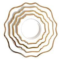 KYAWJY 磁器プレートセットハイグレードホワイトゴールドリム太陽の花セラミックプレート結婚式誕生日パーティー洋食プレート家庭用プレート4パック