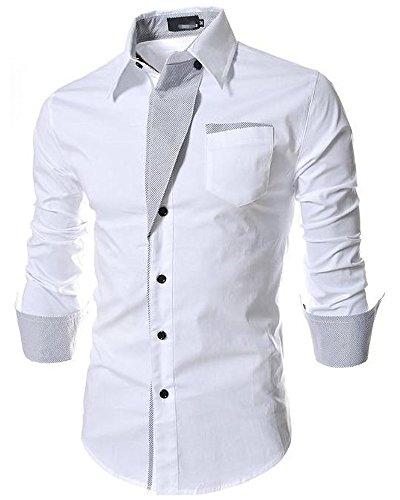 (SGL Collection) ドレスシャツ メンズ 長袖 ストライプ 折り返し デザイン レギュラーカラー スリム タイト フィット カットソー バイカラー 白 男 ファッション おしゃれ きれいめ キレイめ カジュアル シャツ サロン系 LEON系 ビジネス フォーマル 学生 コーディネート (L, ホワイト 白)