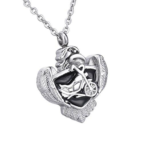 [해외]HooAMI 수중 공양 기념 펜던트 방수 중공 오토바이 & 독수리 펜던트 목걸이 스테인레스 유골 펜던트 실버 + 블랙 34mmx27mm/HooAMI hand memorial memorial pendant waterproof hollow motorcycle & eagle pendant necklace stainless remains ribbe...