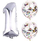 お子様誕生日パーティー 大な風船 シルバー数字(1)バルーンx1個 紙吹雪風船バルーンx2個(xins-01)