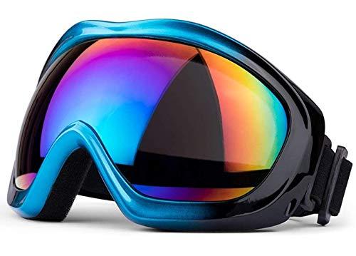 (マーセイラ)スキーゴーグル スノーゴーグル 曇り止め 紫外線防止 バイク用 ヘルメット対応 運動用 耐衝撃 防塵 防風 防雪 男女兼用 (ブルー, フリーサイズ)