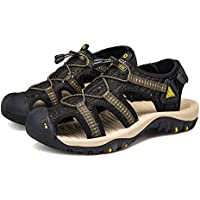 AUCDK Men Breathable Mesh Sandals Summer Flat Sandals Closed Toe Beach Sandal Laces Water Walking Shoes