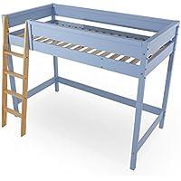 LOWYA (ロウヤ) ロフトベッド ベッドフレーム すのこベッド はしご パステルカラー シングルサイズ 天然木 子供部屋 一人暮らし ブルー/ナチュラル