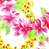 キャシー中島のハワイアンプリント生地  レイラニ・HOU(ホウ) 花びら一部ラメ入り (20085-10) ※価格は、10cmの価格。ご注文は、50cmから10cm単位で承ります。