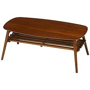 不二貿易(Fujiboeki) ローテーブル ミディアムブラウン 幅約100×奥行約50×高さ約40 95780