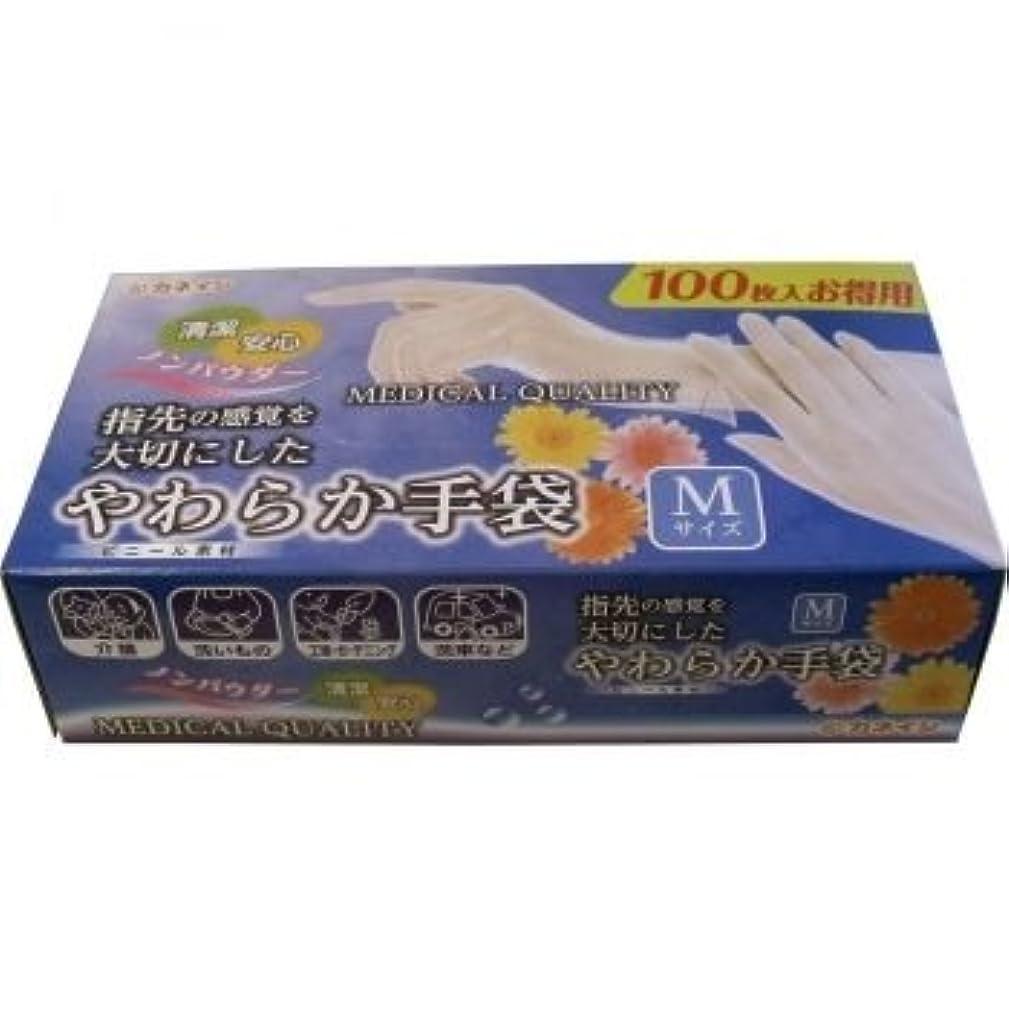 式豆腐豪華なやわらか手袋 ビニール素材 パウダーフリー Mサイズ 100枚入【2個セット】