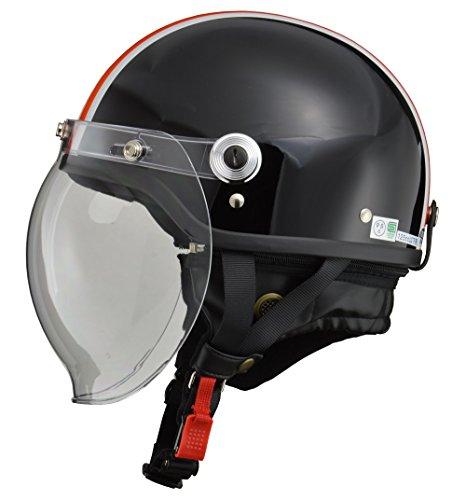 リード工業(LEAD) バイクヘルメット ジェット CROSS バブルシールド付きハーフヘルメット ブラック×オレンジ フリーサイズ(57-60cm未満) CR-760