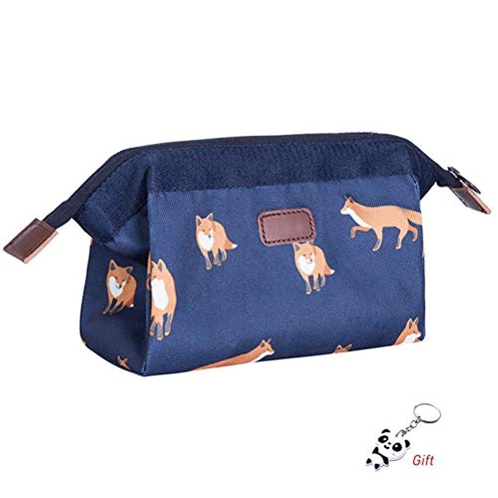 カプセルキャプチャートロイの木馬shiyi 小さい化粧ポーチ, 超軽量 防水 化粧品収納ポーチ 旅行 出張 普段使い 化粧バッグ フォックス花柄 ブルー