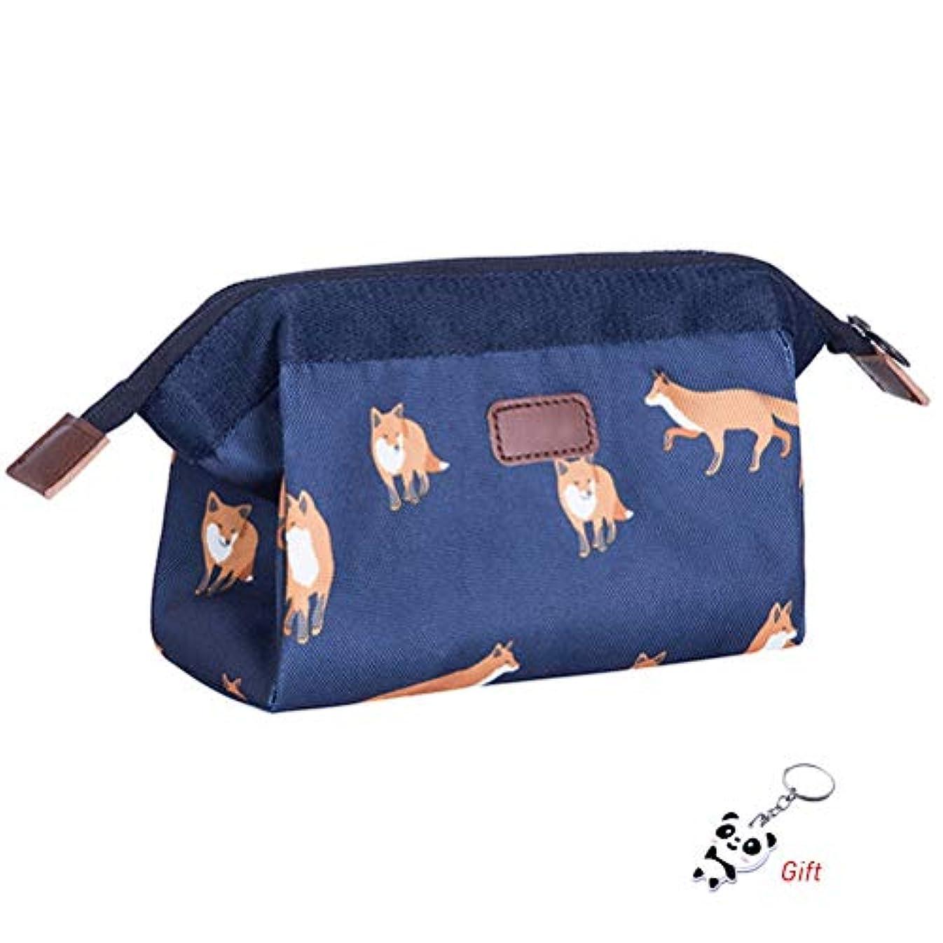 専門化するマイコン魔術師shiyi 小さい化粧ポーチ, 超軽量 防水 化粧品収納ポーチ 旅行 出張 普段使い 化粧バッグ フォックス花柄 ブルー