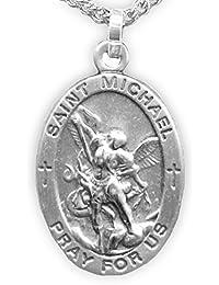 スターリングシルバー楕円形Saint Michael警察メダルの守護、7 / 8インチ