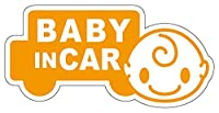 Sticker Shop Haru BABY IN CAR マグネット 車型 20cm オレンジ