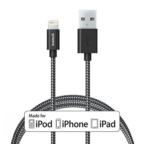 InateckライトニングUSBケーブル Apple認証 (Made for iPhone取得) 高耐久ナイロン 1.8m iPhone 6s /iPhone 6 / 5 / iPad Air / iPad mini 用 アルミコンパクト端子