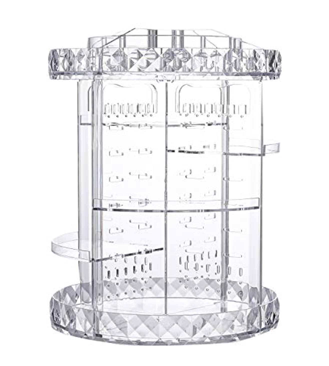 化粧品収納ボックス ネックレス収納 アクセサリー収納 回転式360度 透明 メイクボックス 組み立て 調整可能