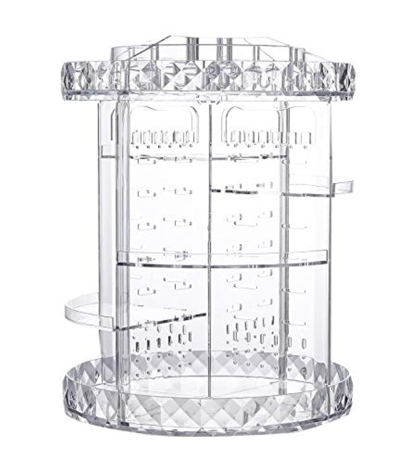 商業のキャメルパテ化粧品収納ボックス ネックレス収納 アクセサリー収納 回転式360度 透明 メイクボックス 組み立て 調整可能