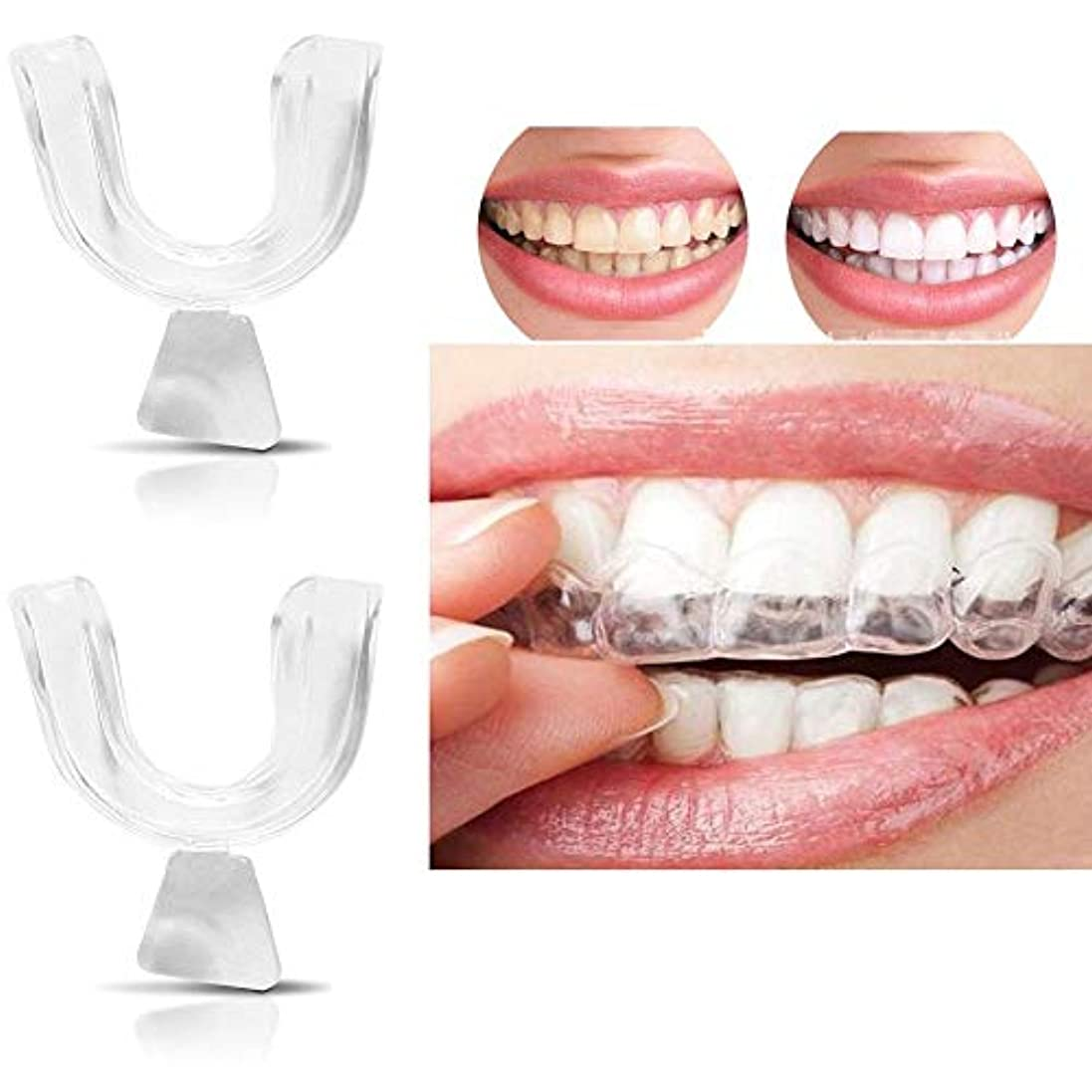 ページ結婚式ムス2ピース歯ホワイトニングトレイ成形可能な透明シリコーン熱成形歯科用マウスガードホワイトナーマウスケア