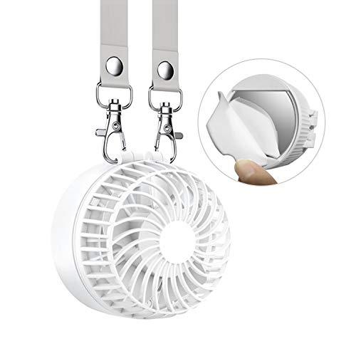 令和新作 HARUSAWA COOL1 携帯扇風機 首かけ扇風機 2600mAh 折り畳み式 携帯ファン 超静音 超強力 手のひらサイズ mini小型 ストラップ付き 3段階調節 暑さ対策 usb扇風機 BBQ/旅行/オフィス/アウトドア/花火大会 ホワイト