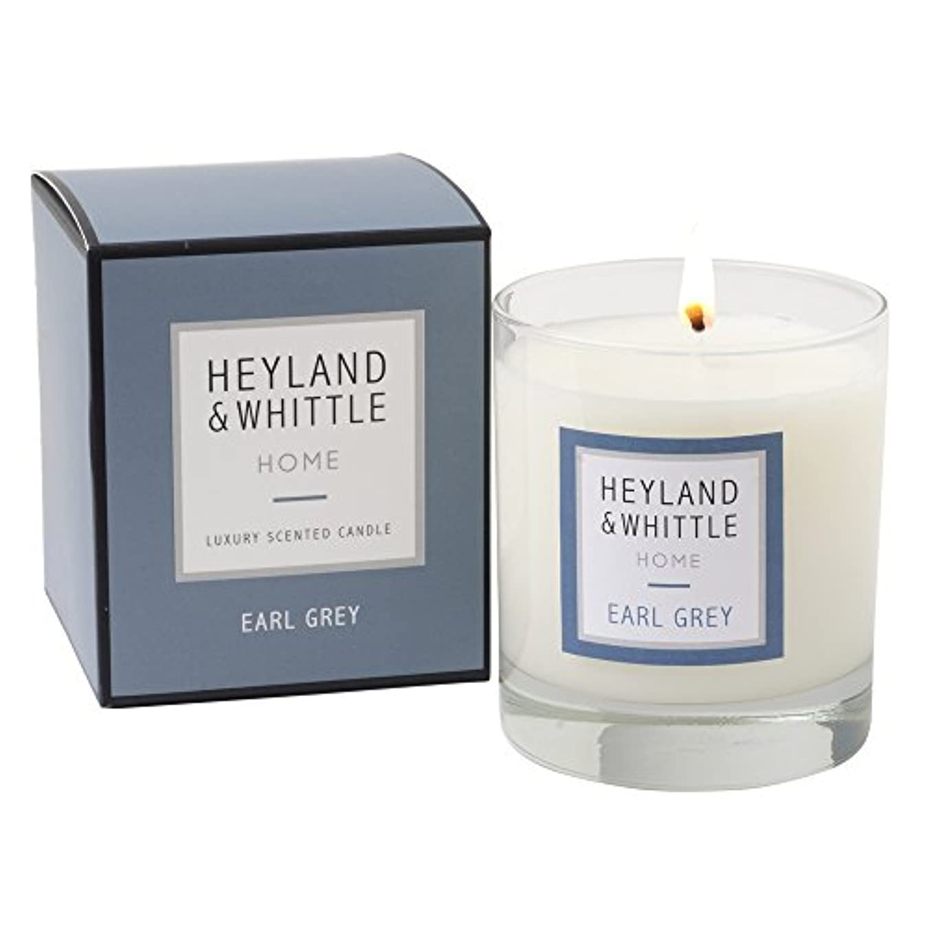 電気の全部神Heyland & Whittle ' HOME '範囲Earl Grey香りつきSoy Candle in aガラスby Heyland & Whittle
