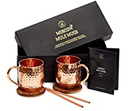 Moscow Mule Mugs Gift Set, 2 Authentic Handcrafted Copper Mugs (470ml), 2 Straws, 2 Solid Wood Coasters and Recipe Book