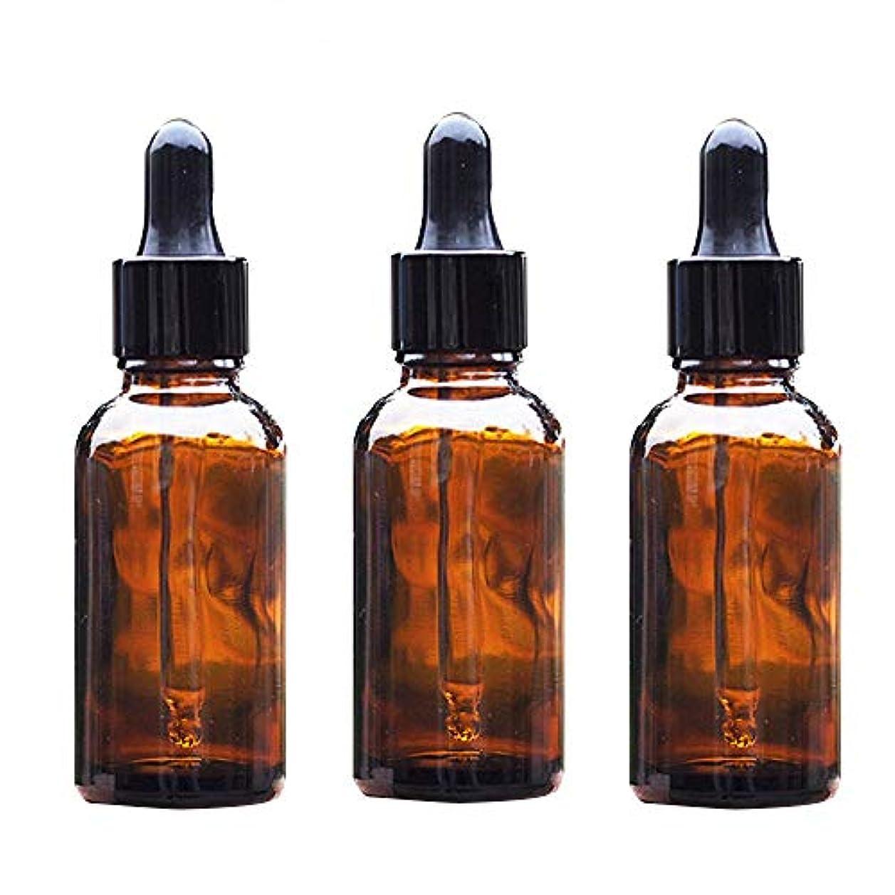 Aomgsd スポイト遮光瓶 アロマオイル 精油 小分け用 スポイト キャップ 遮光瓶 保存 詰替え ガラス製 オイル用 20ml 3本セット (茶)