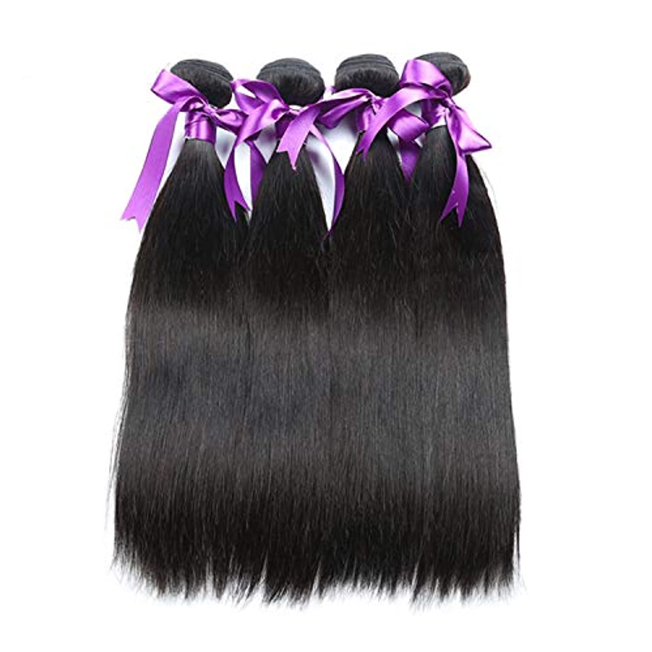 ハイキングに行く対処サロンかつら マレーシアのストレートヘア4本の人間の髪の束非レミーの毛の延長天然黒体毛髪のかつら (Length : 8 8 10 10)