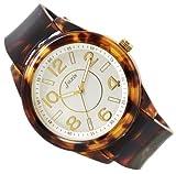 J-AXIS べっ甲風ラバーウォッチ 女性に人気の腕時計 ブラウン×ホワイト BG1074-BRW