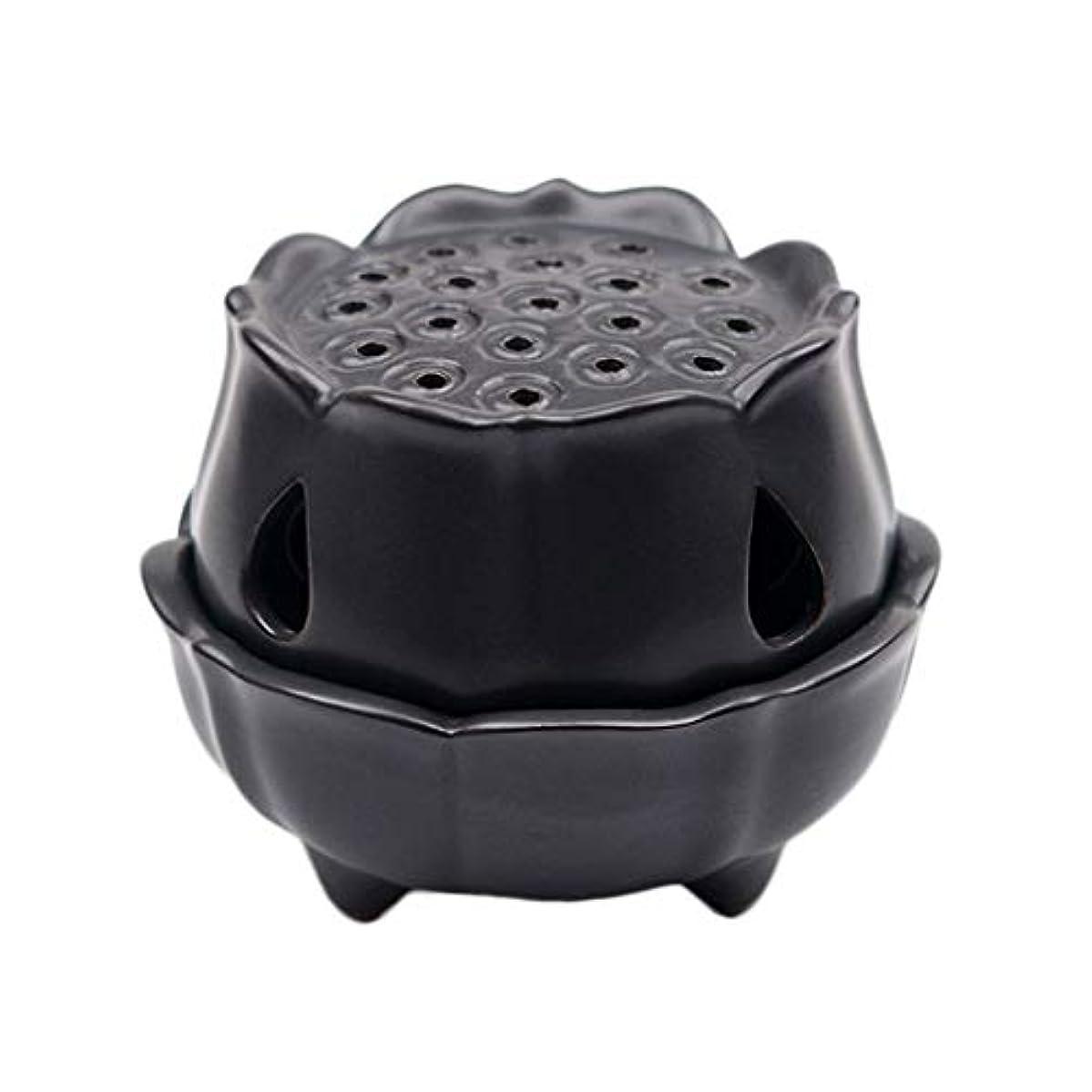 化合物シャッフル重要性ホームアロマバーナー セラミックロータスフラワーセンサークリエイティブホーム小さな仏香ホルダー逆流香バーナーホームオフィスでの使用茶店 アロマバーナー (Color : Black)