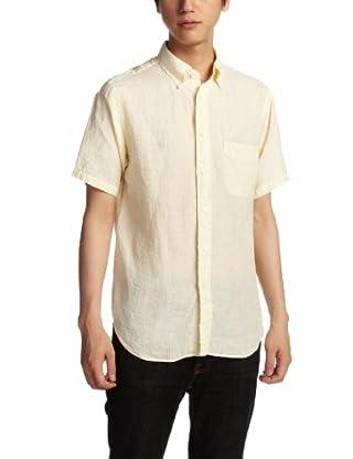 Linen Pinstripe Short Sleeve Butttondown Shirt 1216-163-1912: Yellow