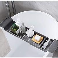 バスタブトレイ バスタブトレイホルダー、フルーツカトラリー排水用皿ラック、バスルームキッチンホームホテルラック、引き込み式55-78cm 多機能バスタブフレーム,グレー