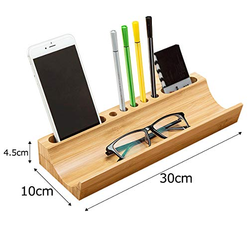 IBOOHOME 竹製 ペン立て 卓上収納 デスクオーガナイザー オシャレ 文具収納 携帯 / 名刺収納 小物整理