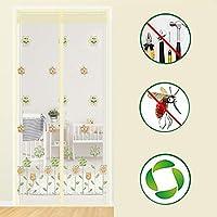 刺繍 磁気スクリーンドア,強化ガラス繊維 メッシュ カーテン フルフレームベルクロスクリーンドアハンズフリー新鮮な空気で&バグを防ぎます -g 85x200cm(33x79inch)