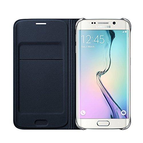 [Samsung純正] Galaxy S6 Edge Flip Wallet Cover(ファブリック) - ギャラクシーS6エッジ フリップウォレットカバー(ファブリック) (自動画面ON/OFF機能付き) (ブラック)