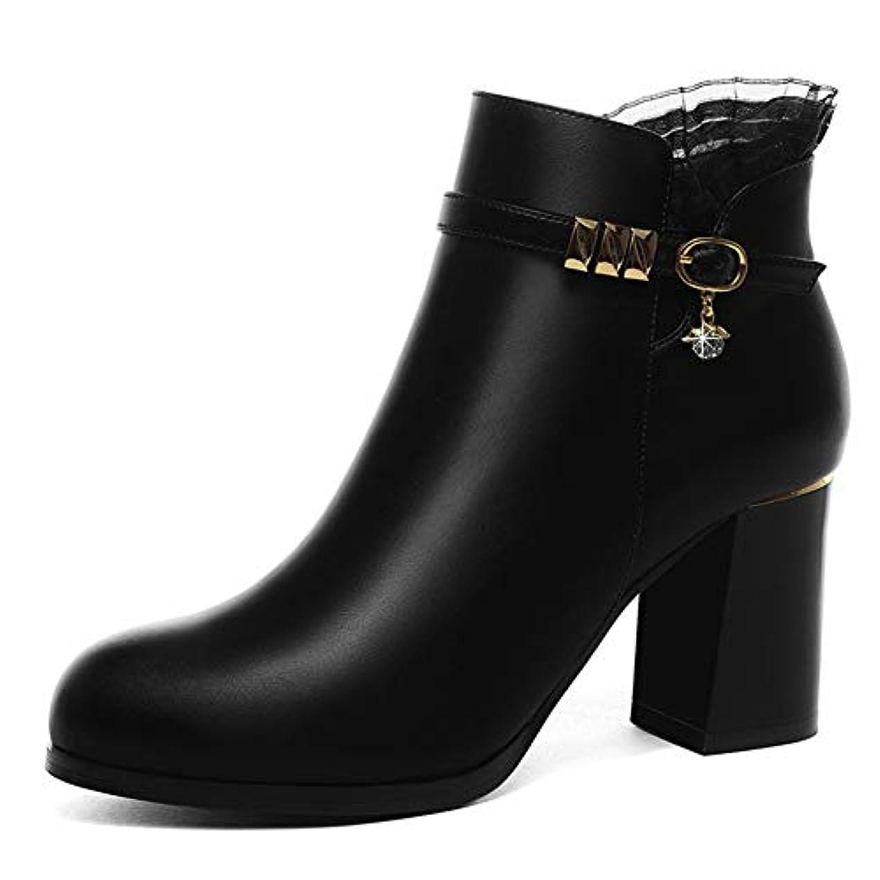 ダイヤルインディカ甥女性のブーツ、秋冬新しい厚いかかとレースアンクルブーツ厚いボトムベルベット女性のマーティンブーツ (色 : A, サイズ : 35)