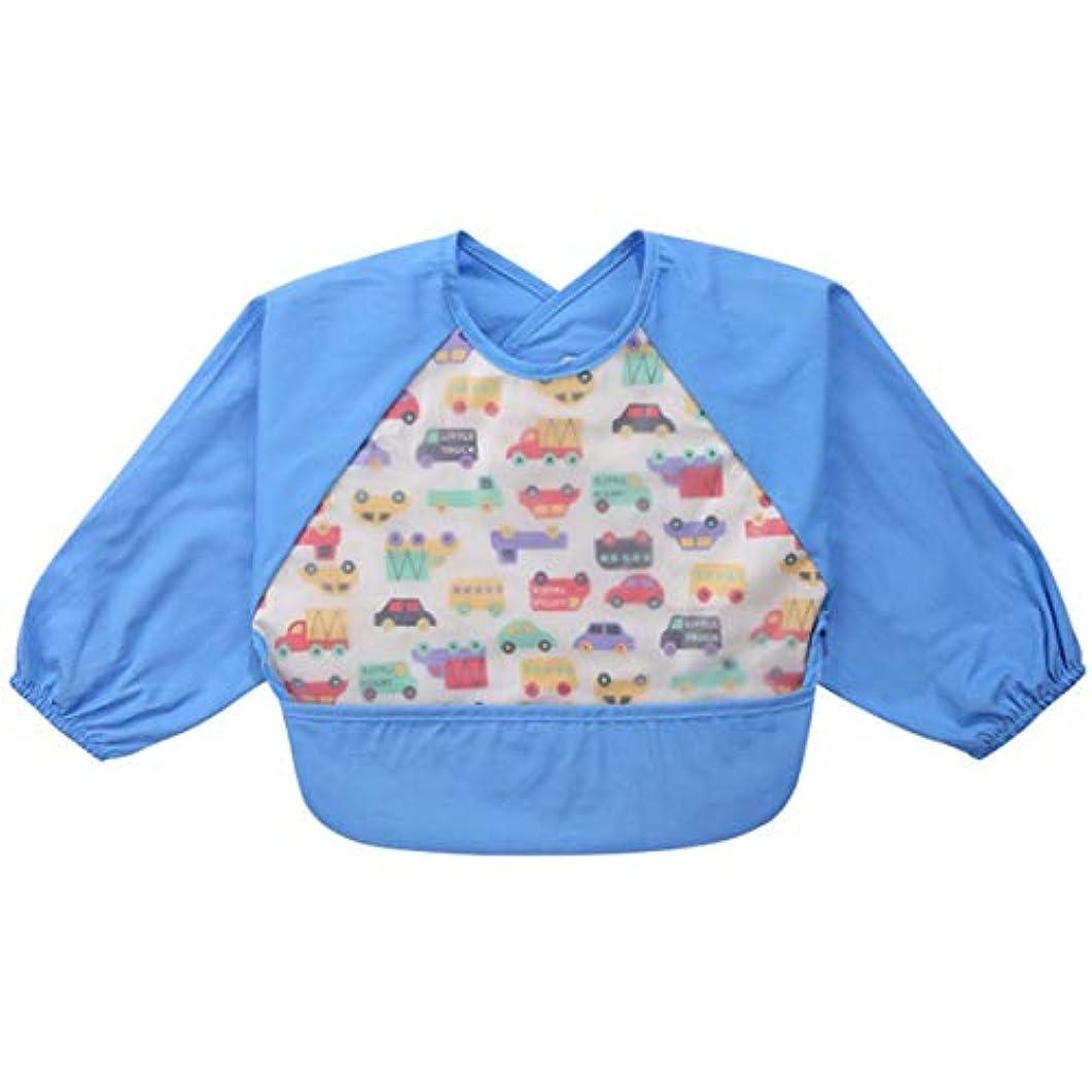 アレンジ完璧溝スタイリッシュな漫画防水ベビーよだれビブ長袖シャツ有機ソフトよだれが歯が生えるよだれを与えるための赤ちゃん-ブルーS(6-24)