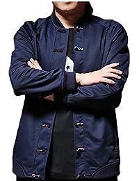 chenshiba-JP メンズファッション中国スタイルプラスサイズロングスリーブカエルボタンジャケットコート