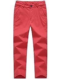 KID1234 秋 男の子 ロングパンツ キッズ ストレート ズボン ストレッチ ウエスト調整可能 薄手 六色展開 無地 コットン 吸汗 通気性 カジュアル 110cm-160cm