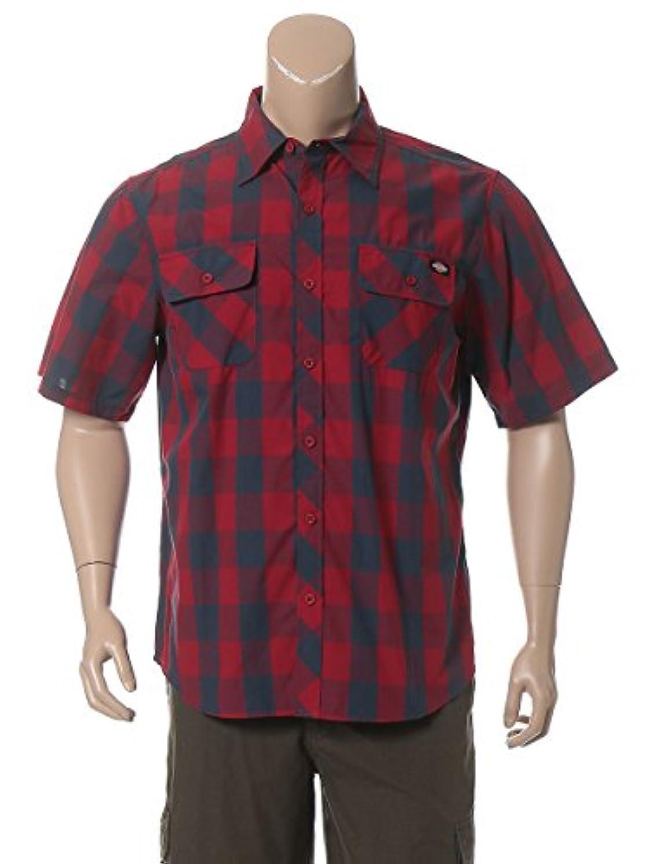 ブランデー展望台上院(ディッキーズ) Dickies 大きいサイズ メンズ ロゴ チェック柄 ポケット付き 半袖 シャツ [並行輸入品]