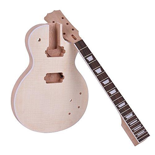 ammoon 未完成のエレキギターDIYキットセット LPスタイル マホガニーボディ&ネックローズウッド指板