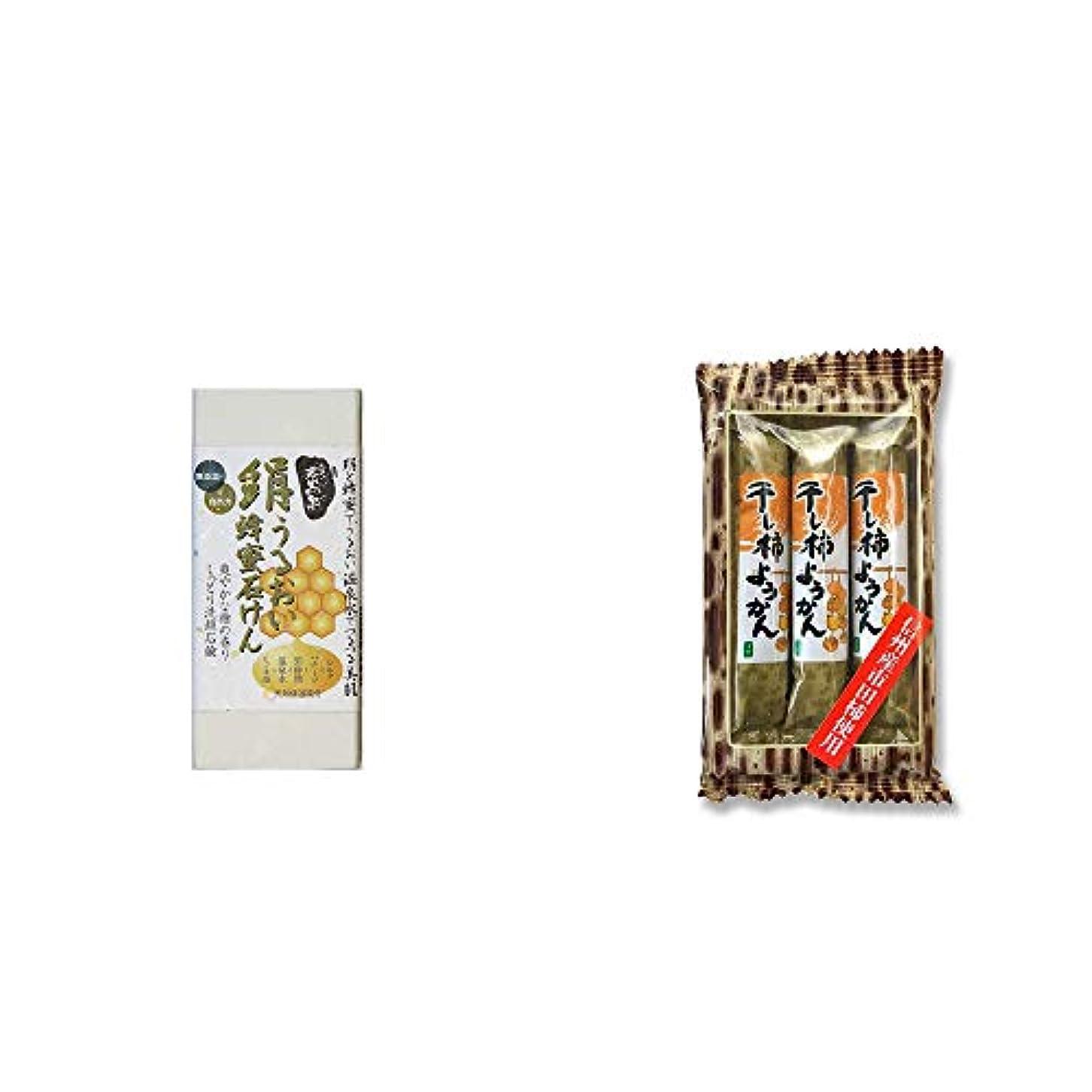 情熱おもしろいありそう[2点セット] ひのき炭黒泉 絹うるおい蜂蜜石けん(75g×2)?信州産市田柿使用 スティックようかん[柿](50g×3本)