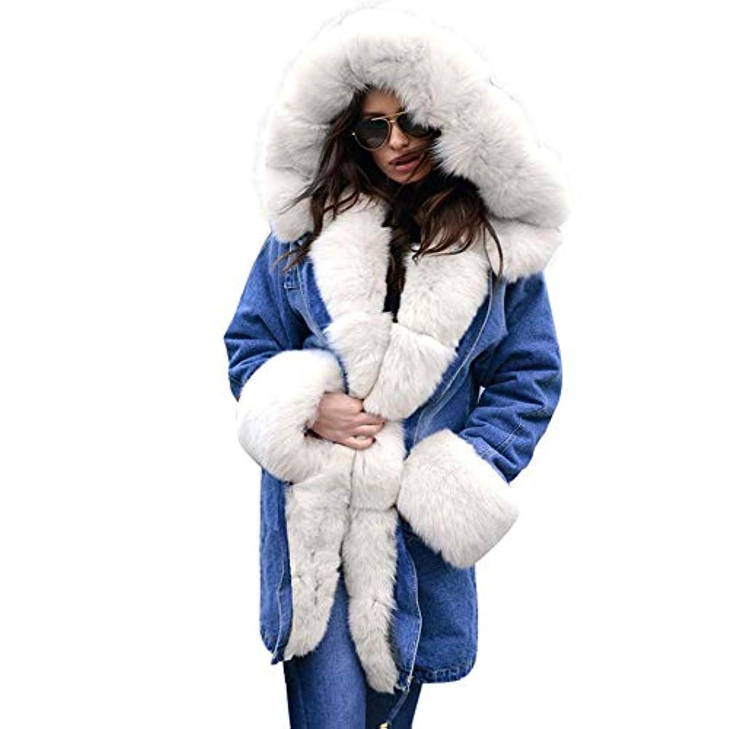 露健康的団結ファッションウィンタージャケット女性ウォームコートフェイクファーコットンフリースオーバーコート女性ロングフードコートパーカスパーカー,L
